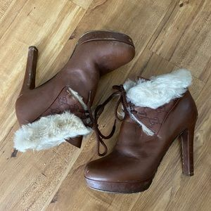 Gucci Brown Leather Heeled Booties Size 8